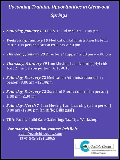 Trainings for January and February