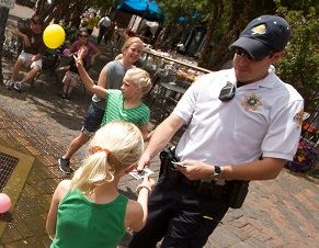 Aspen Police Officer interacting with children