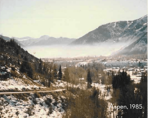 pollution cloud hangs over Aspen in 1985