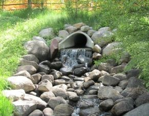 Water Drain into Stone Filled Ditch