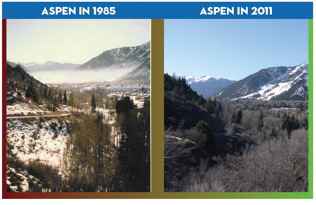 Looking into Aspen from the West are two photos side by side.  The photo on the left was taken in 1985 and shows air pollution. The photo on the right from 2011 shows clear air.
